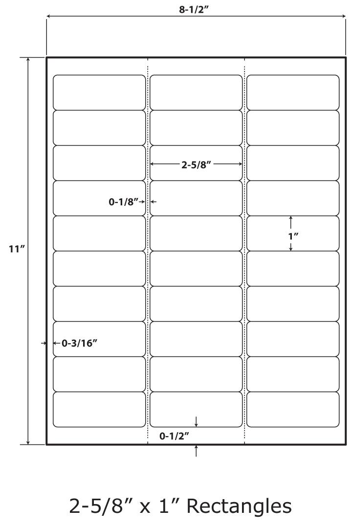 "30-Up, 2-5/8"" X 1"", Permanent, 100 Sheets, 50# Premium Laser, Inkjet Adhesive Paper, 8-1/2"" X 11"