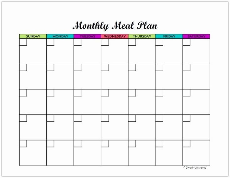 40 Meal Plan Calendar Template In 2020 | Meal Planner Printable, Meal Planning Template, Menu