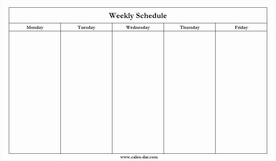 41 Monday Through Friday Hourly Calendar | Ufreeonline Template