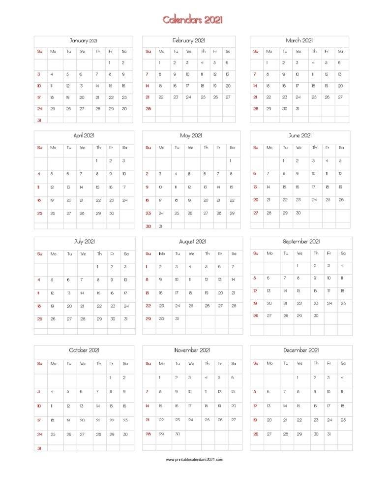 56+ Printable Calendar 2021 One Page, Printable 2021 Yearly Calendar