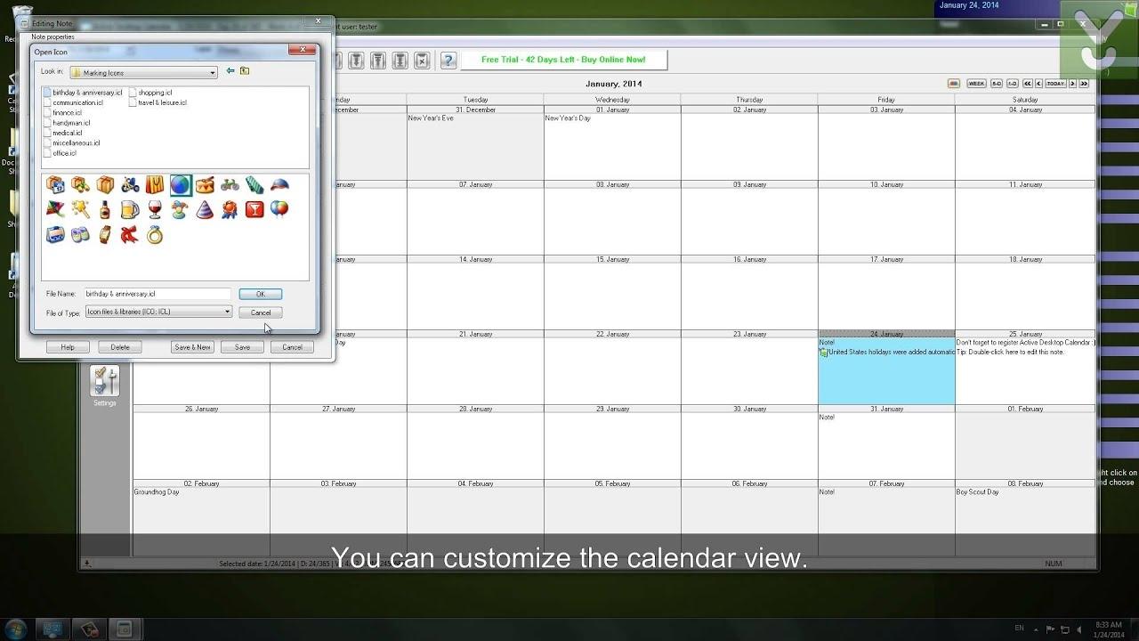 Active Desktop Calendar - Set A Customizable Calendar As Your Wallpaper - Download Video