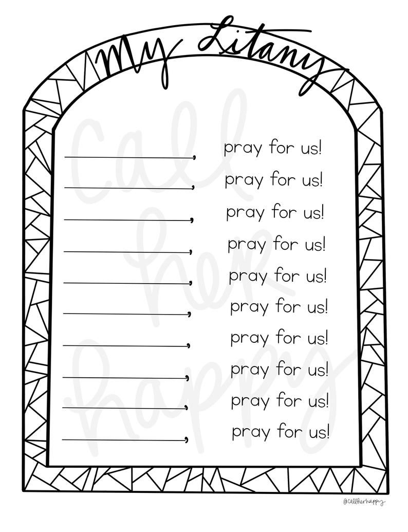 All Saints Day Litany Coloring Page Sheet Liturgical Year | Etsy