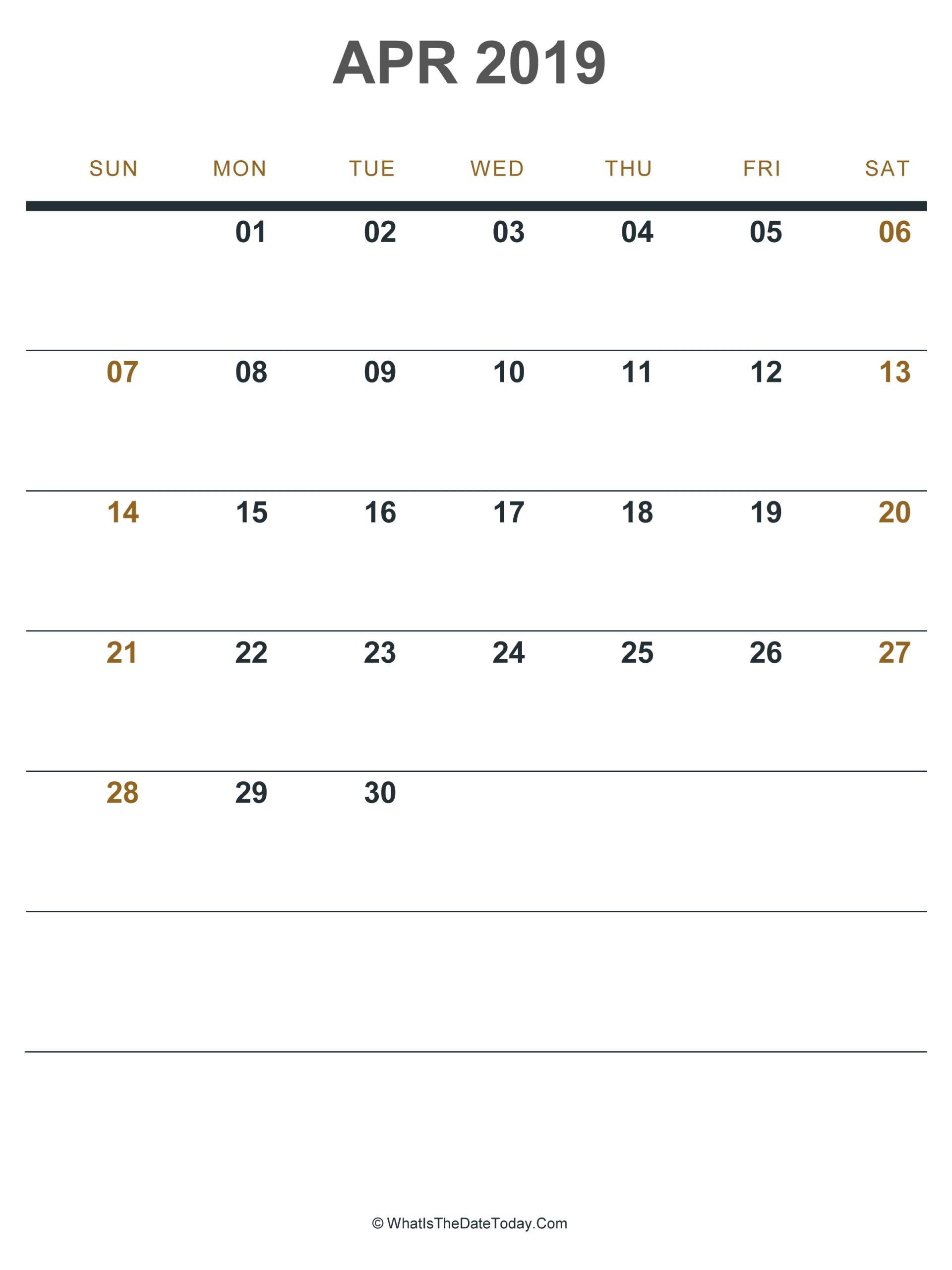 April 2019 Calendar Portrait