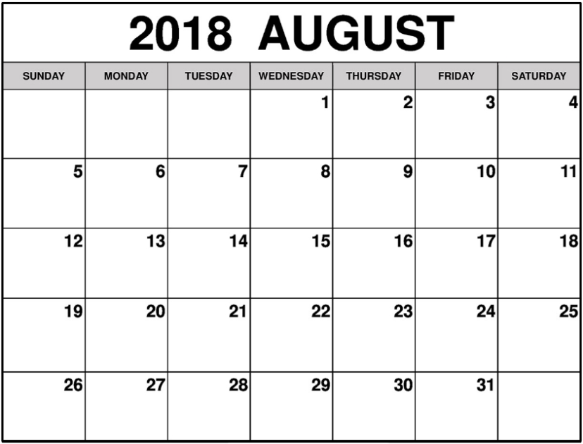 August 2018 Calendar Excel Template | August Calendar, Editable Calendar, Calendar Printables