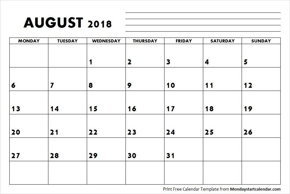 Blank 2018 August Calendar Template | September Calendar, Calendar Template, August Calendar