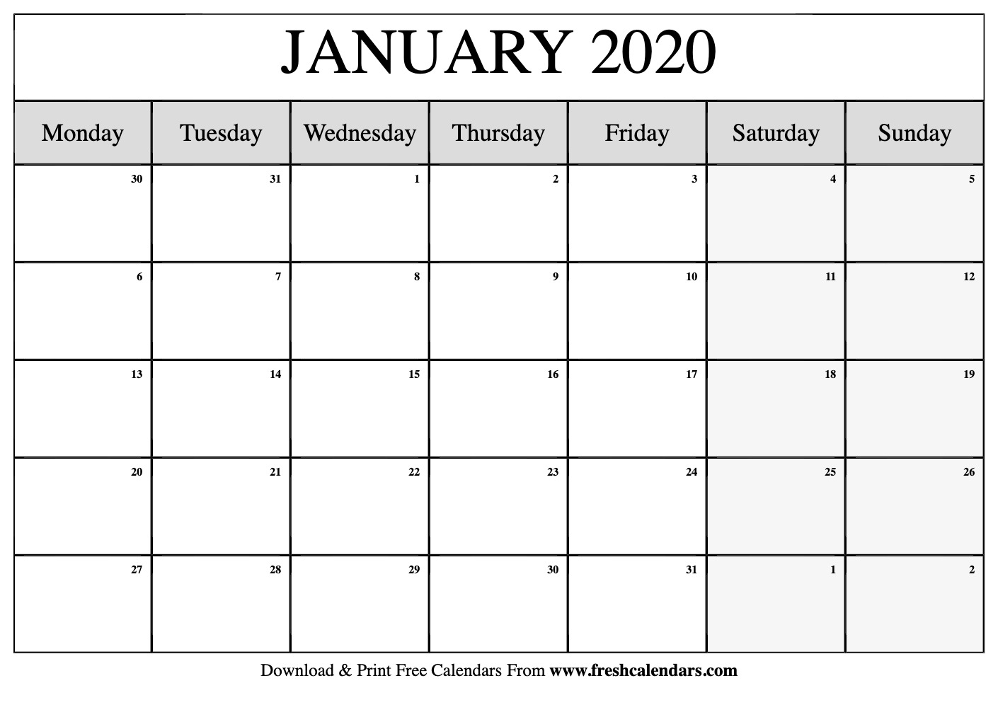 Blank 2020 Calendar Starting On Saturday Printable Free | Calendar Template Printable Monthly Yearly