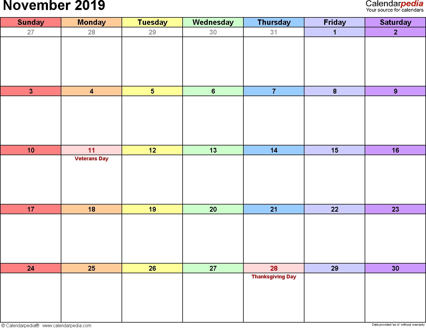 Blank Calendar I Can Type On For November 2019 | Calendar Template Printable Monthly Yearly