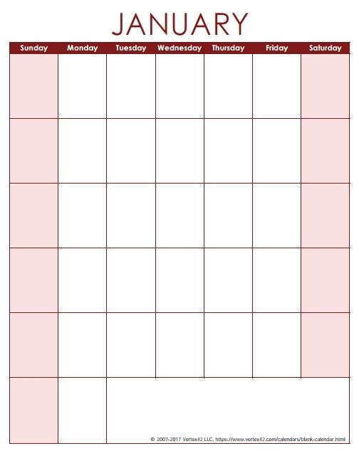 Blank Calendar Template - Free Printable Blank Calendarsvertex42