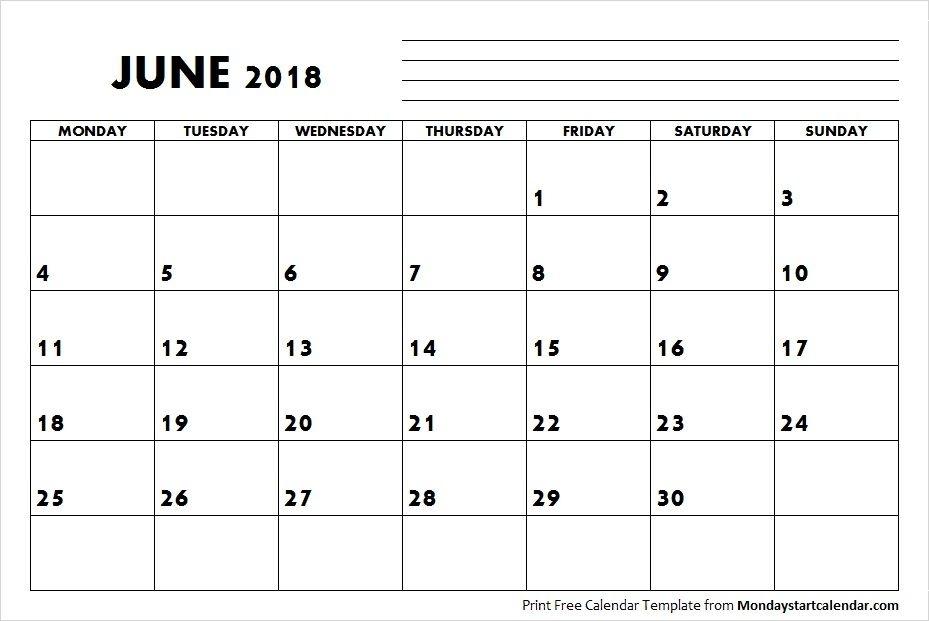 Blank June Calendar 2018 Starting Monday | September Calendar, August Calendar, July Calendar