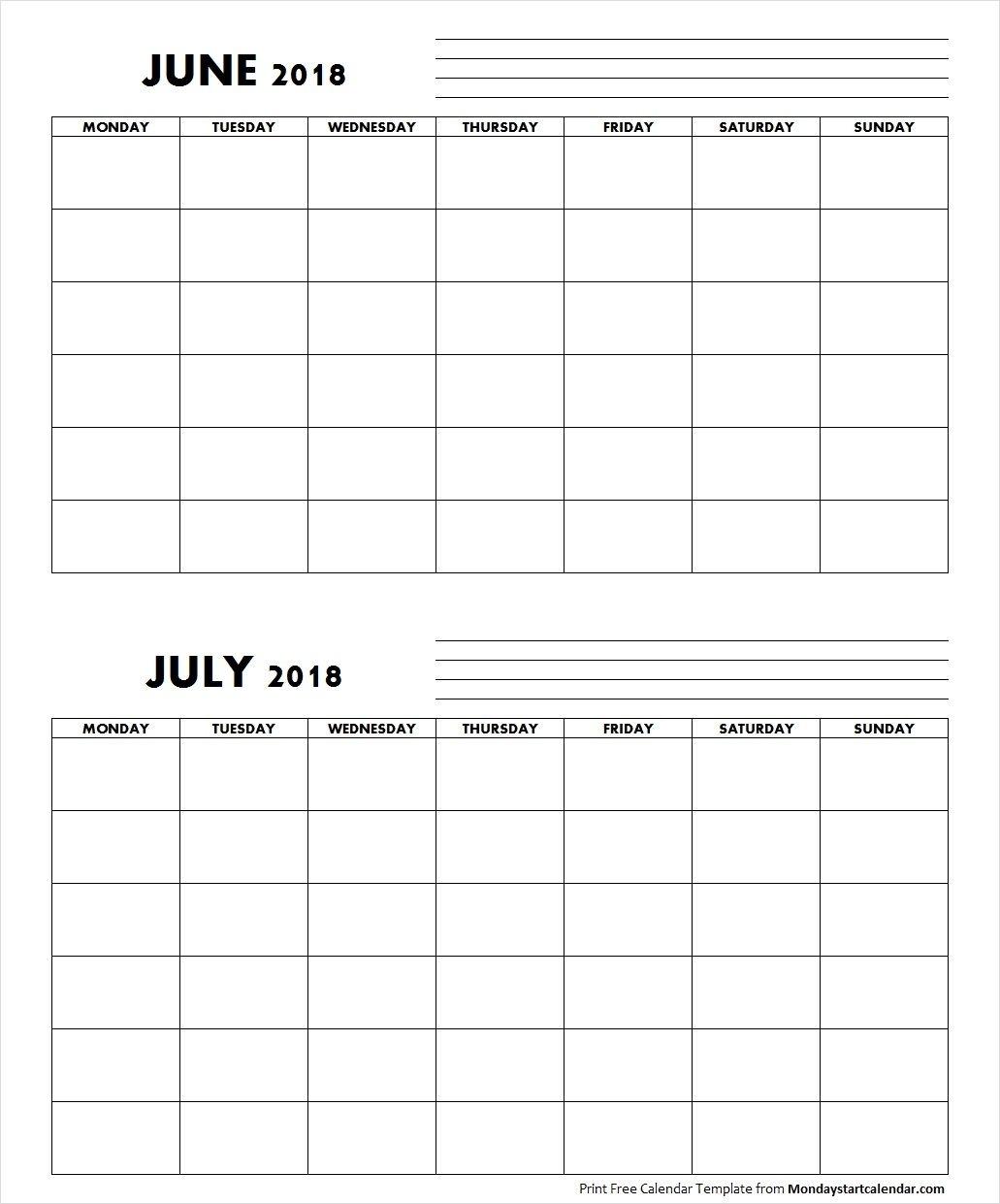Blank June July 2018 Calendar Monday Start | Free Calendars To Print, Free Calendar Template
