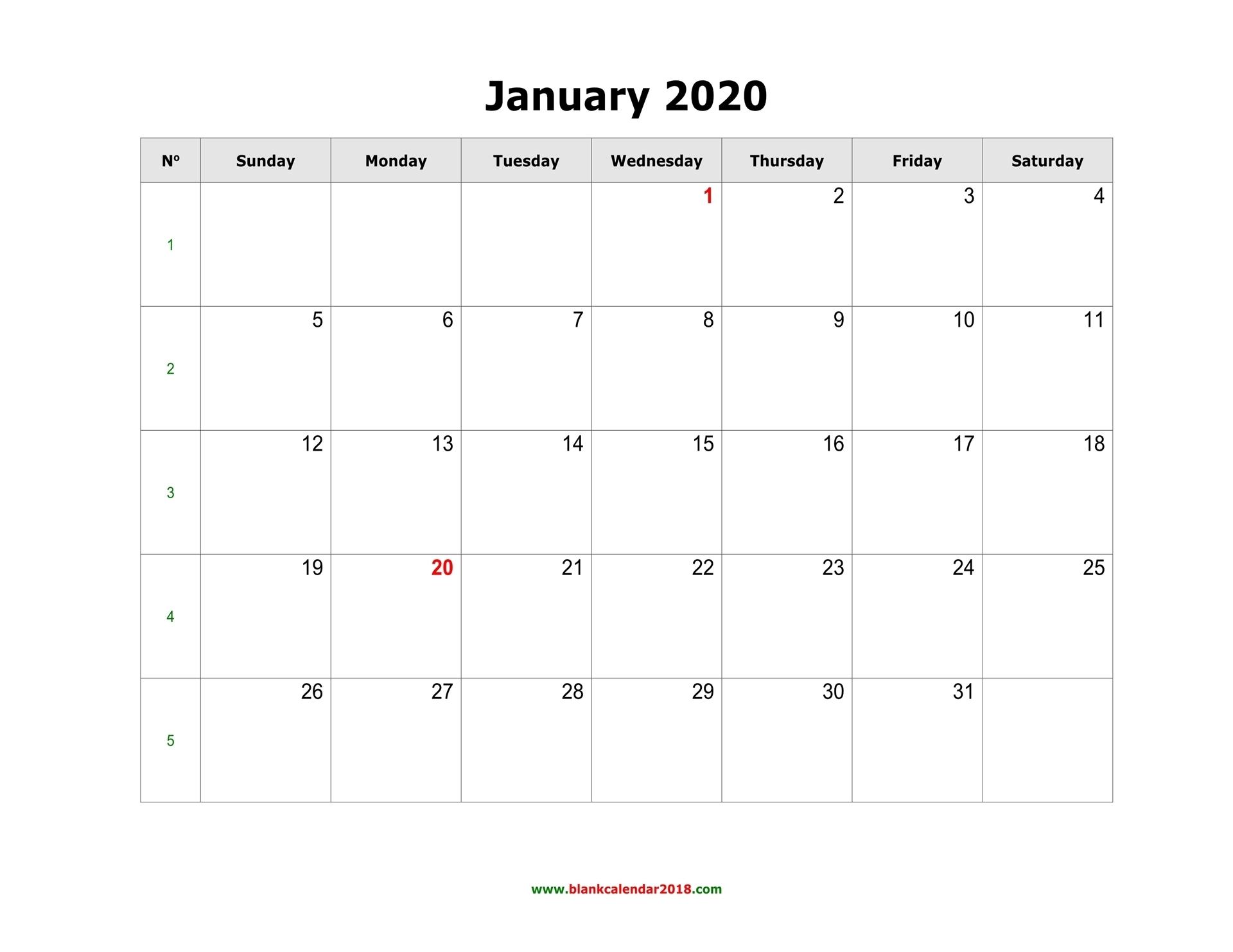 Blank Monthly Calendar 2020 Landscape