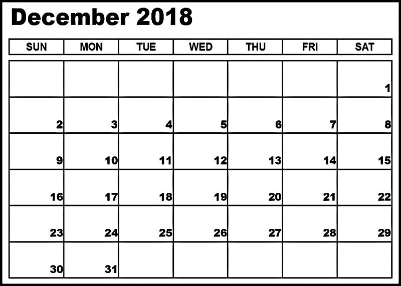 Calendar 2018 December | Monthly Calendar Printable, Calendar Printables, Printable Calendar