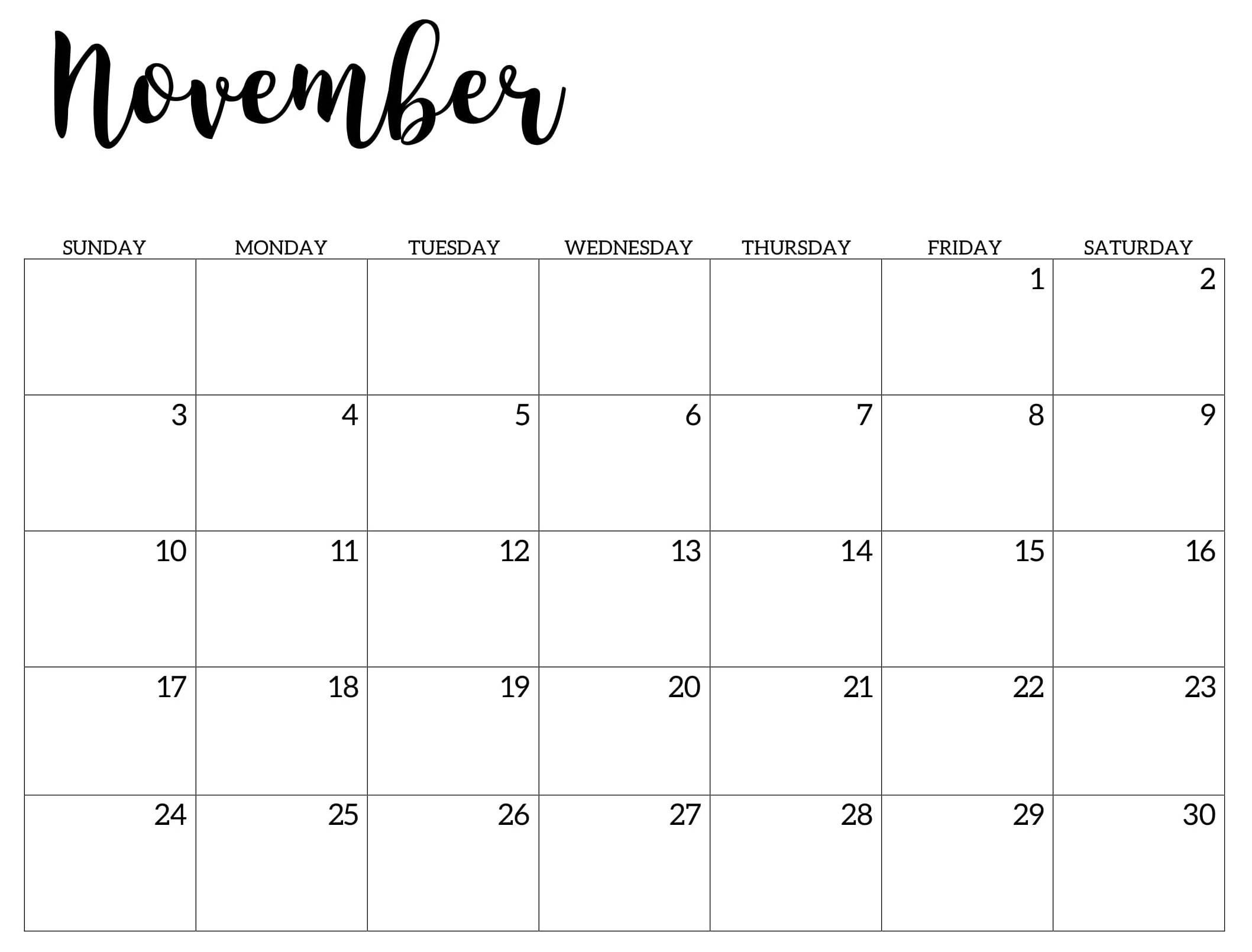 Calendar 2019 November Printable | November Printable Calendar, Print Calendar, Calendar Printables