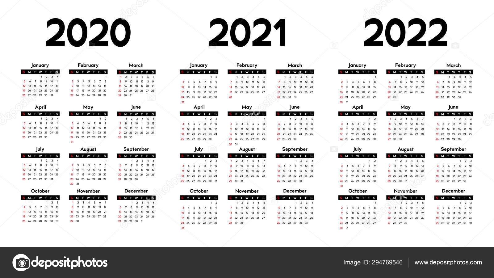 Calendar 2020 2021 2022 Week Starts Sunday Basic Business Template — Stock Vector © Xennya