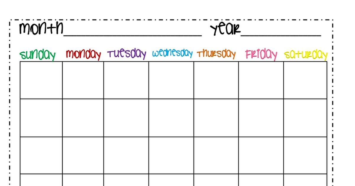 Calendar Month.pdf | Charts For Kids, Lesson Plan Templates, Nanny Activities
