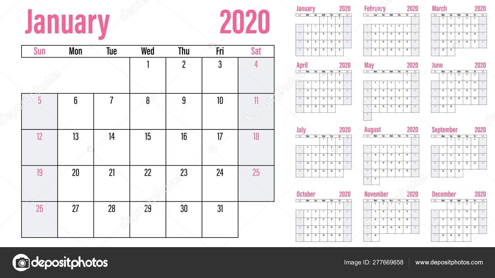 Calendar Planner 2020 Template Vector Illustration All Months Week Starts — Stock Vector