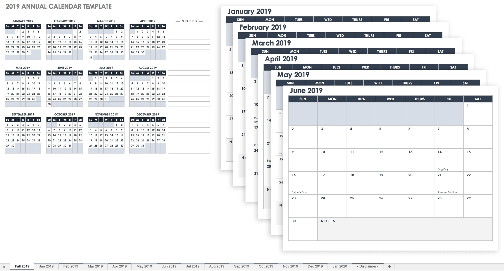 Calendar With Large Space For Notes In Excel - Calendar Inspiration Design