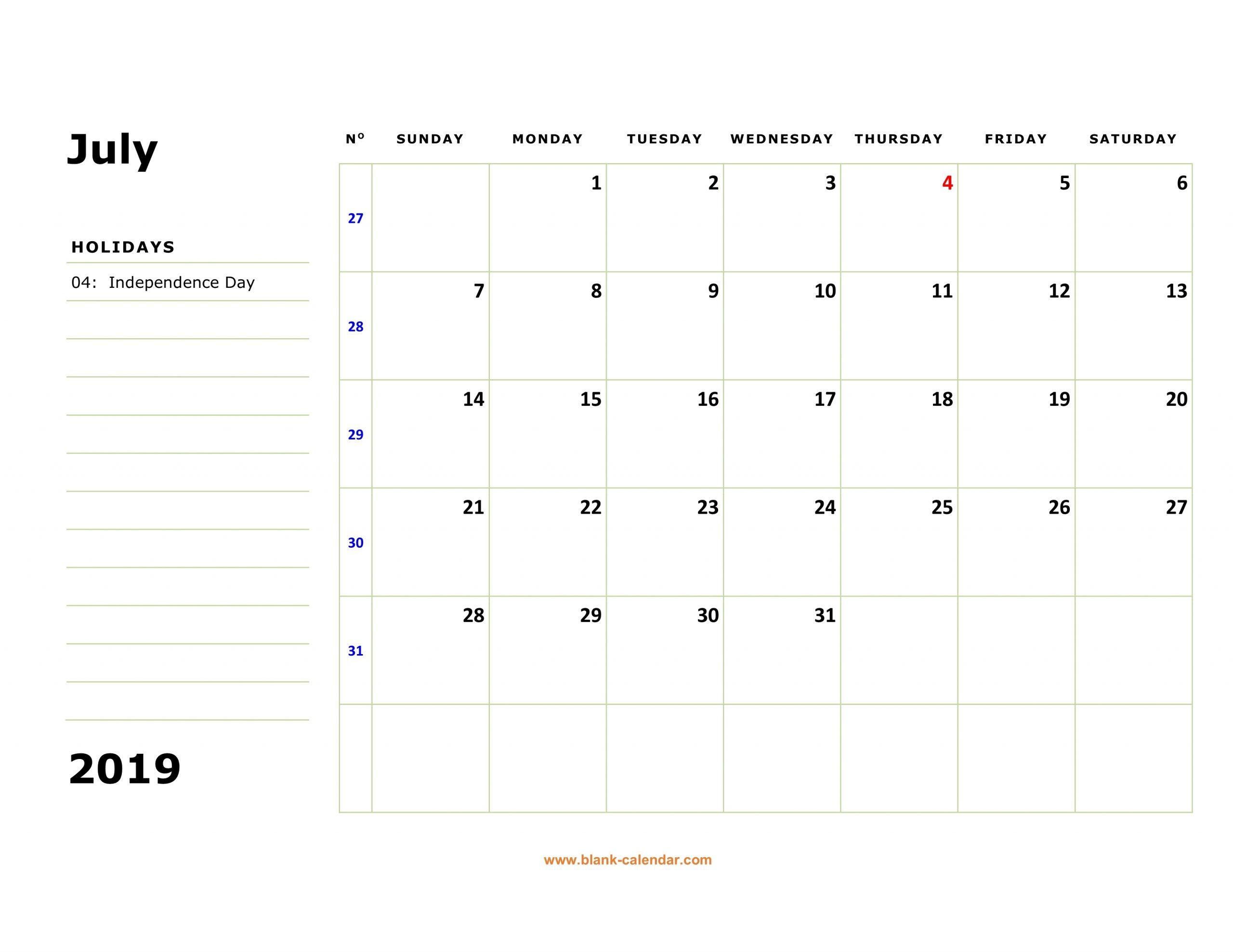 Calendar With Large Squares | Calendar For Planning