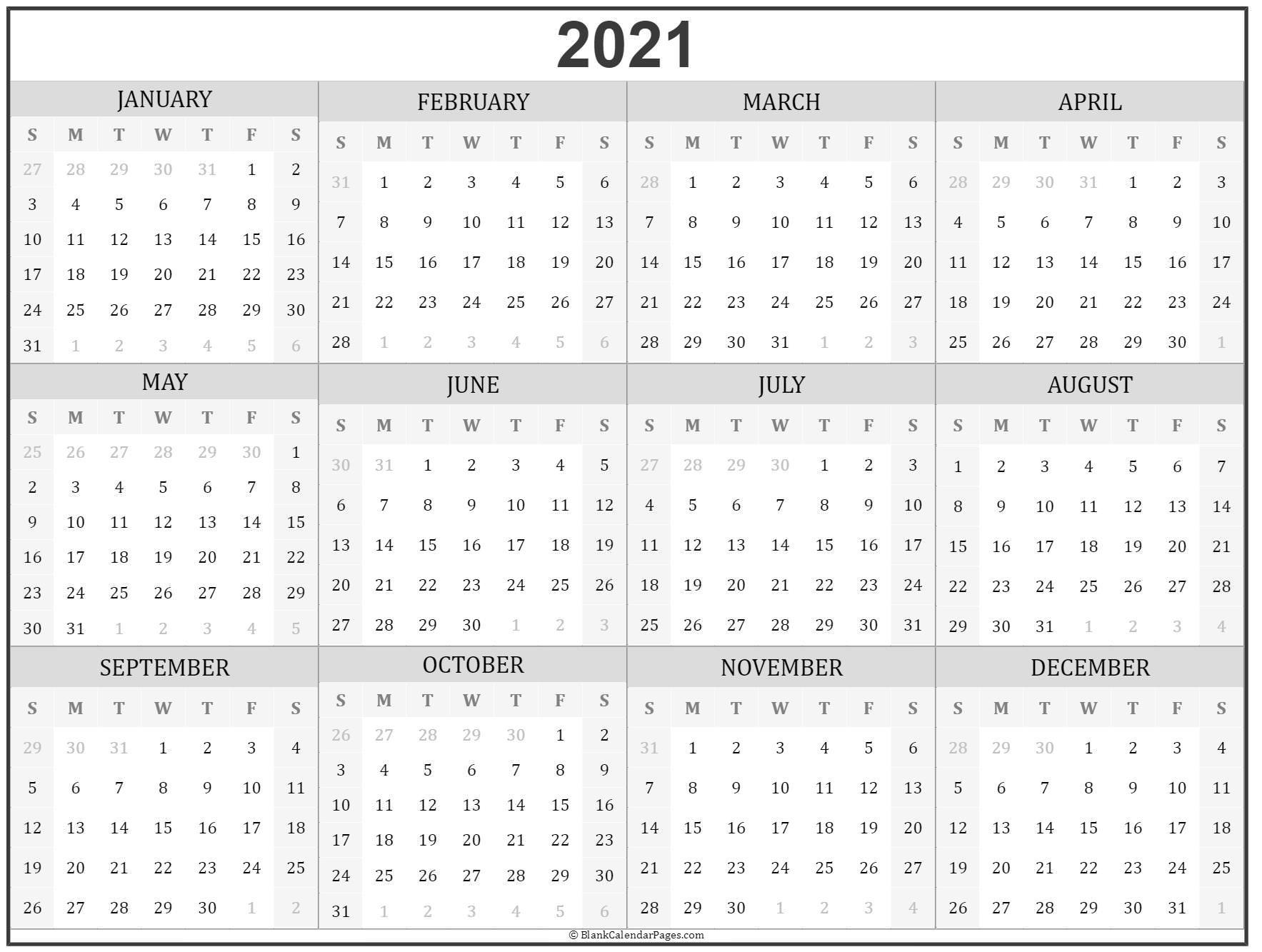 Calendar Year 2021 Printable Free   Printable Calendar Design