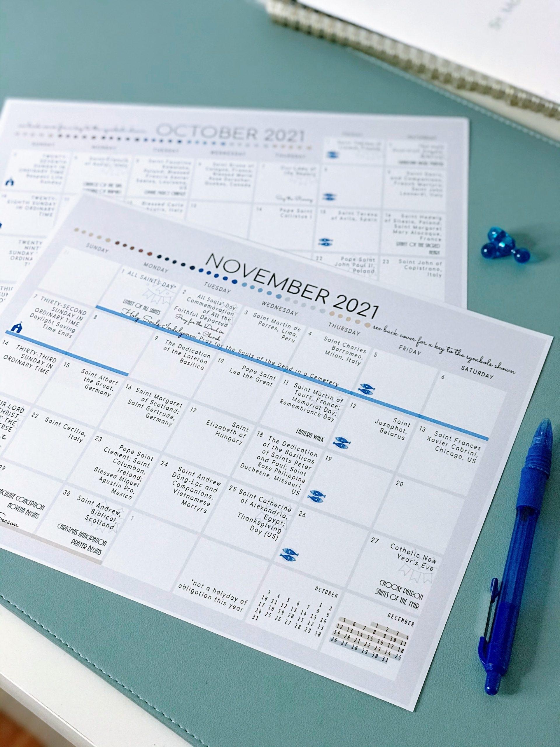Catholic 2021 Liturgical Calendar   Ten Free Printable ...