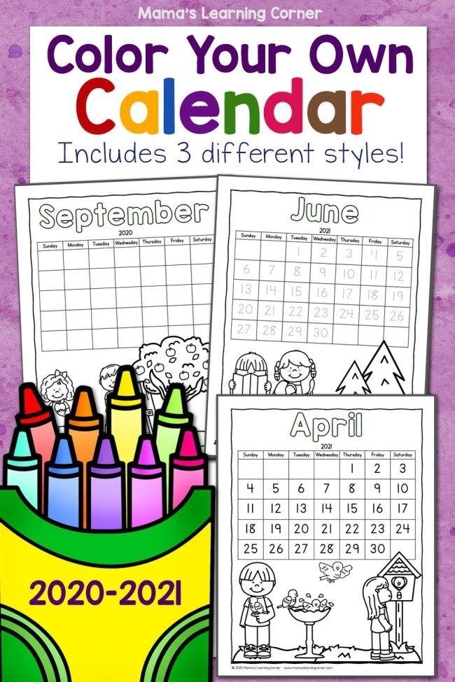 Color Your Own Calendar 2020-2021 In 2020 | Calendar 2020, Calendar, Coloring Calendar