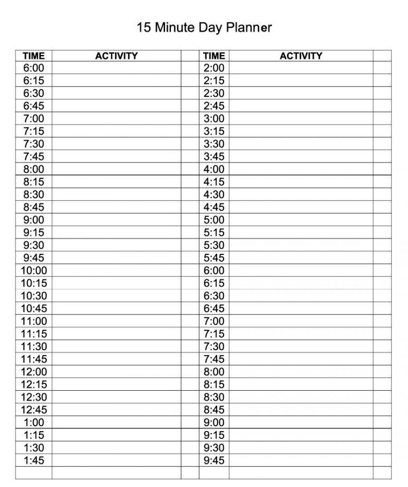 Daily Calendar With 15 Minute Time Slots   Daily Calendar Printable 2020