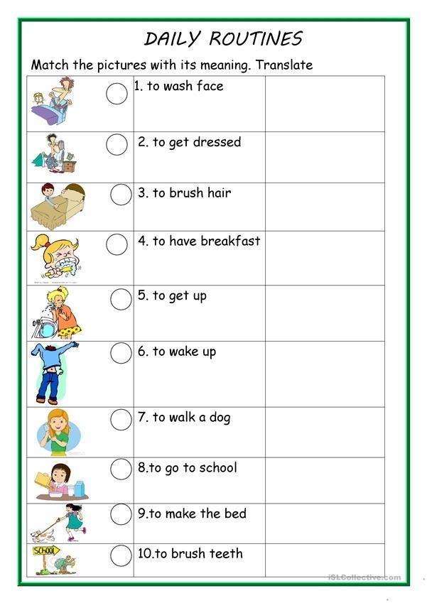 Daily Routines 1 Worksheet - Free Esl Printable Worksheets Madeteachers