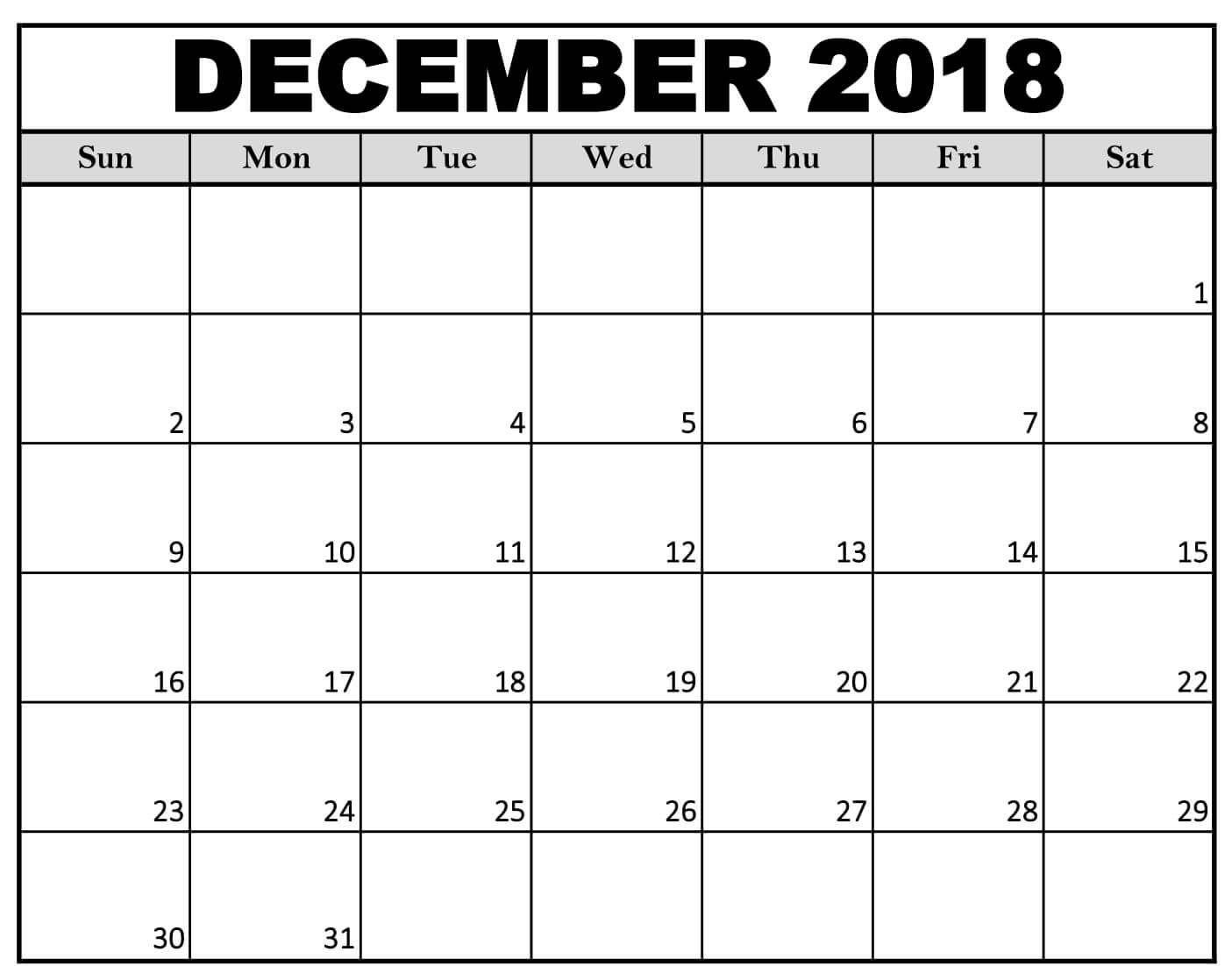 December 2018 Calendar Landscape #December2018Calendar #December2018 #Calendars | December