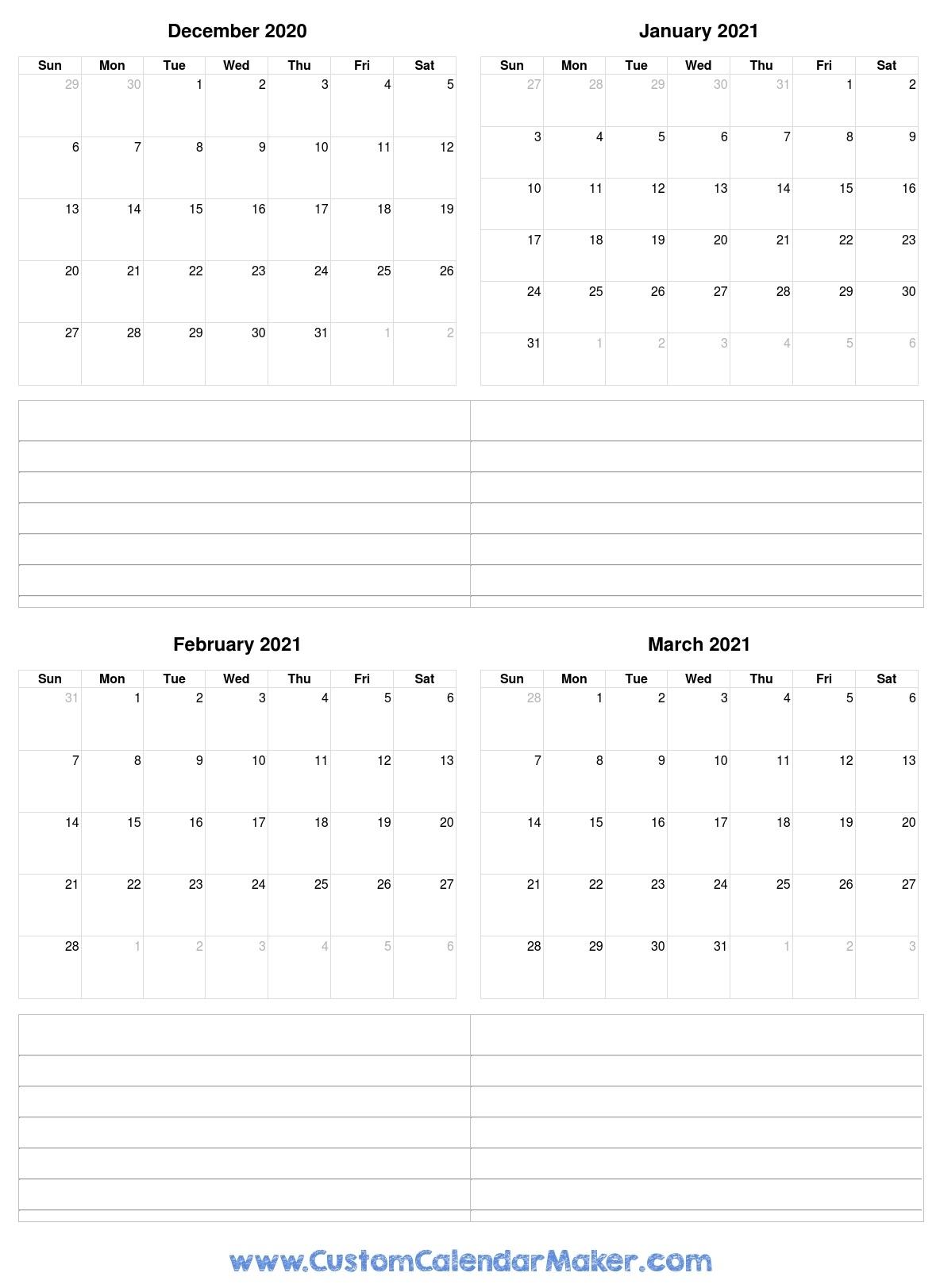 December 2020 To March 2021 Calendar
