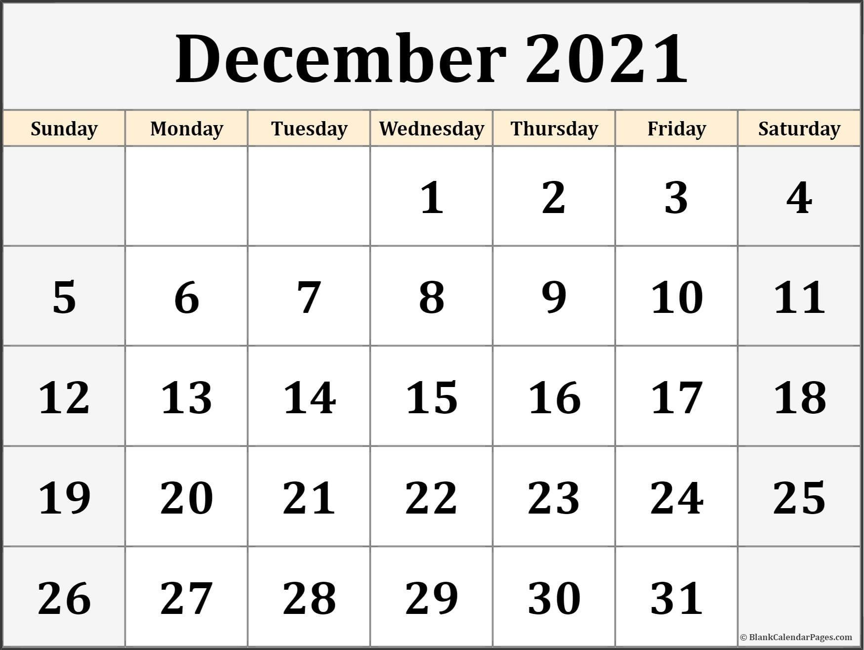 Free Printable December Csalendar Numbers | Ten Free ...
