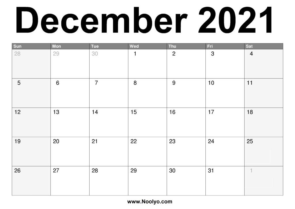 December 2021 Calendar Printable - Free Download - Noolyo