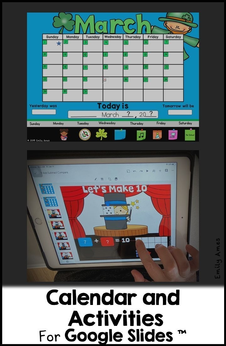 Digital Calendar For Google Slides™ (Distance Learning) | Calendar Activities, Kindergarten