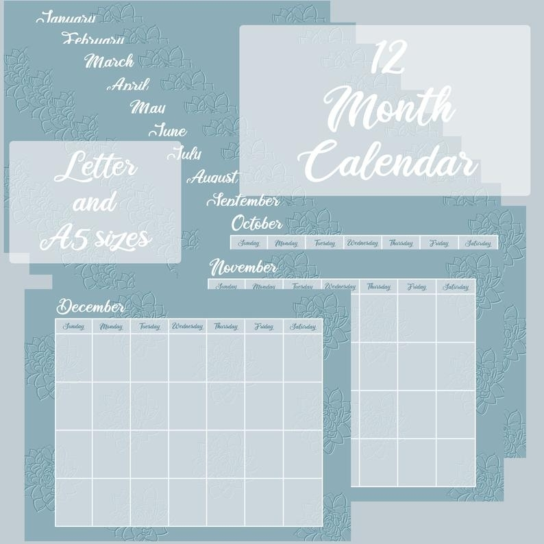Digital Printable Calendar / Planner Letter Or A5 Size   Etsy