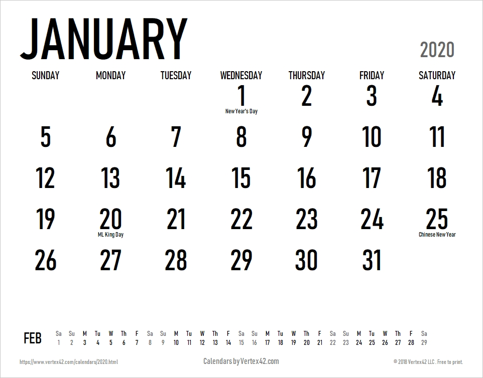 Download A Free 2020 Large Print Calendar With Holidays From Vertex42 In 2020 | Calendar