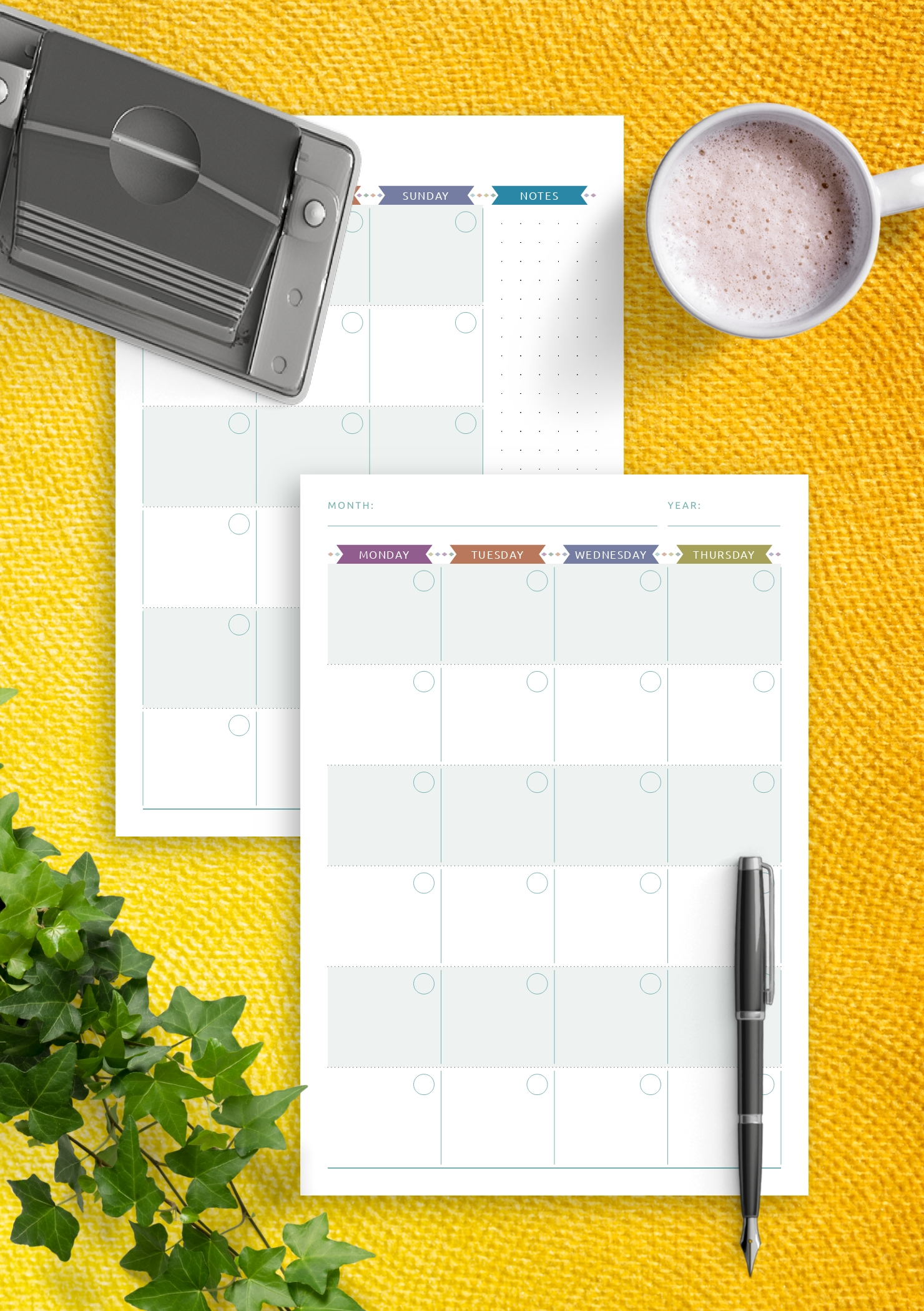 Download Printable Monthly Calendar Planner Undated - Casual Style Pdf