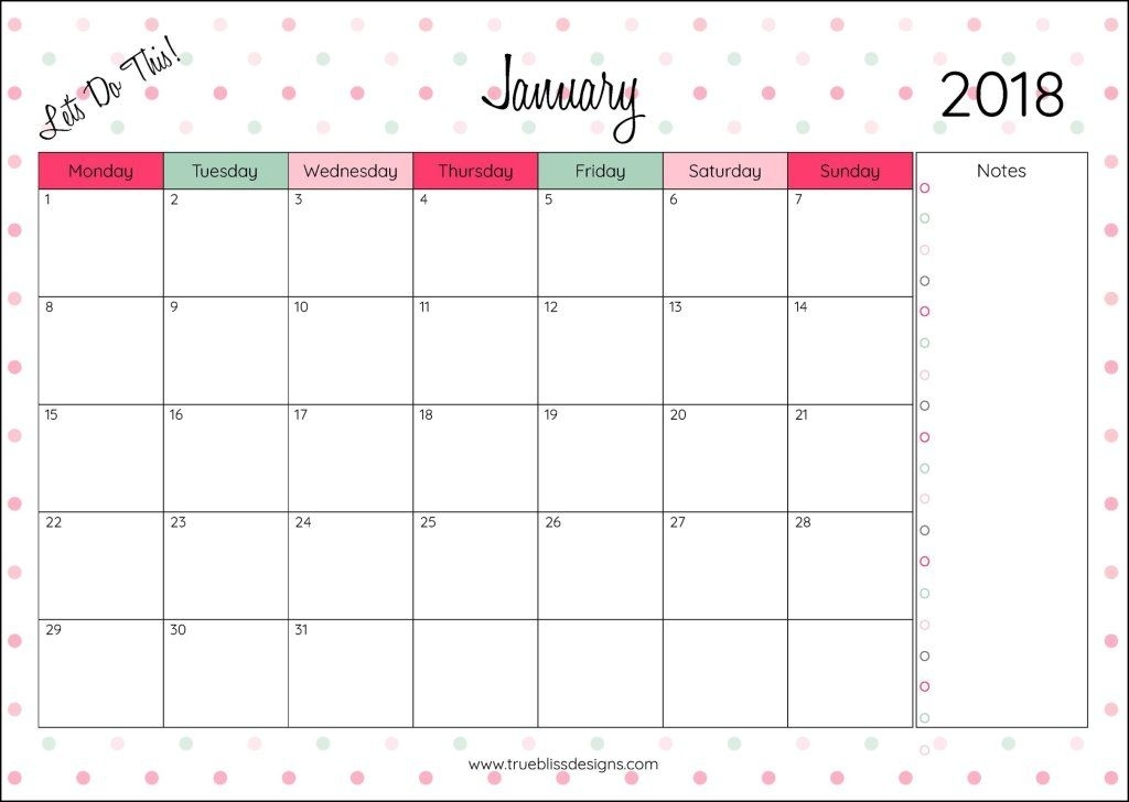 Download Your Free 2018 Monthly Printable Calendar Now! Available In A4, Letter And A5 Size, You