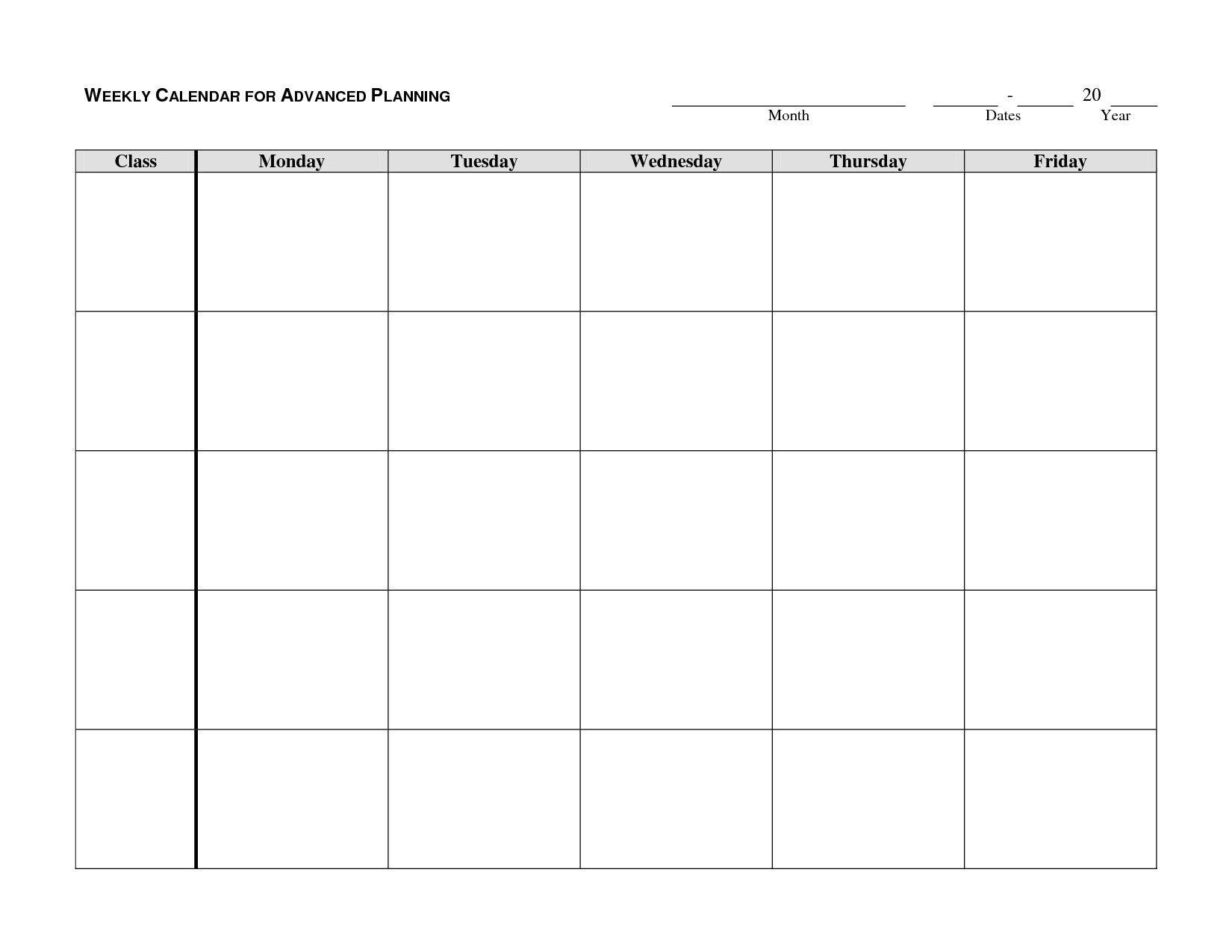 Downloadable Monday Thru Friday Calendar Template | Calendar Template Printable