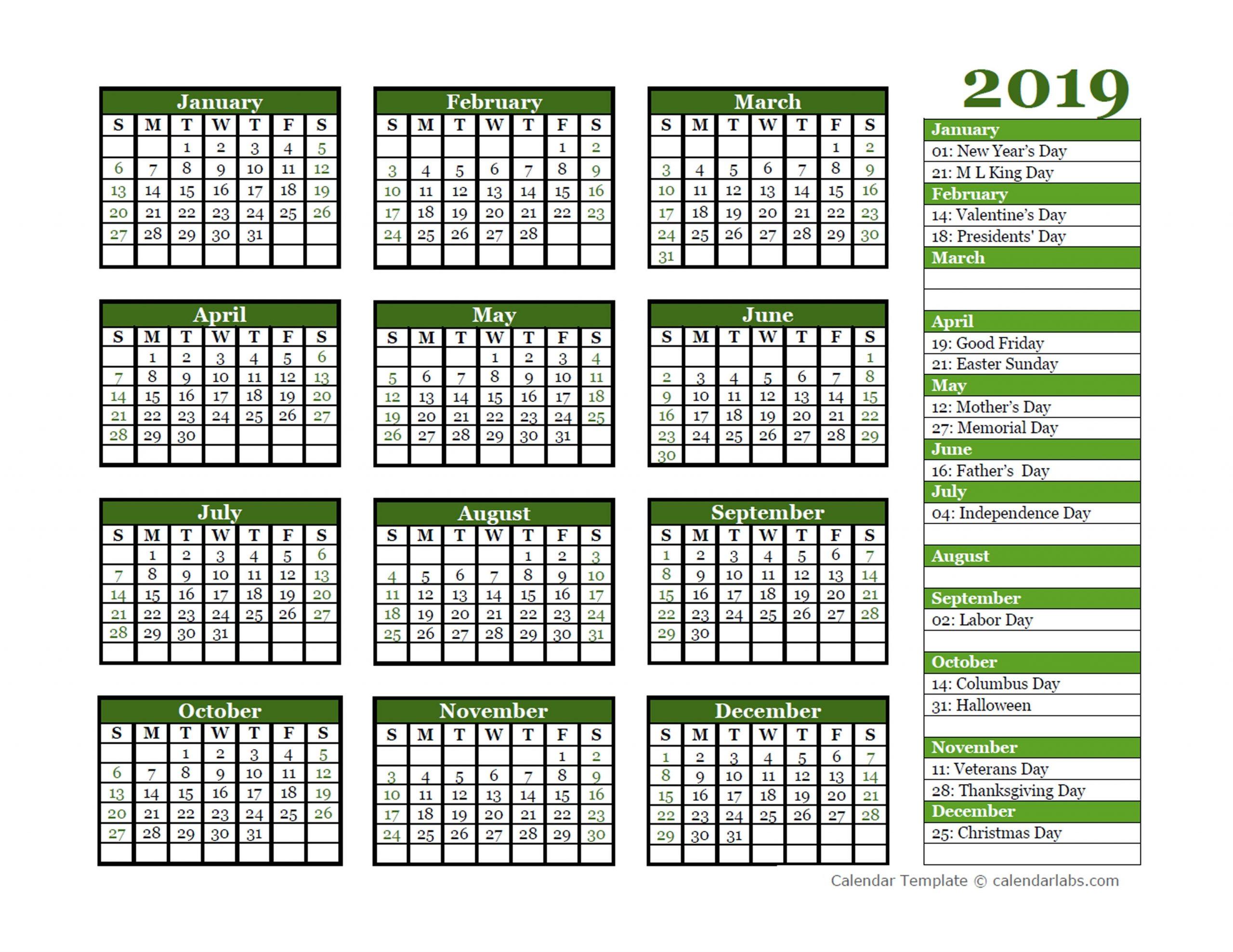 Editable 2019 Yearly Calendar Landscape - Free Printable Templates