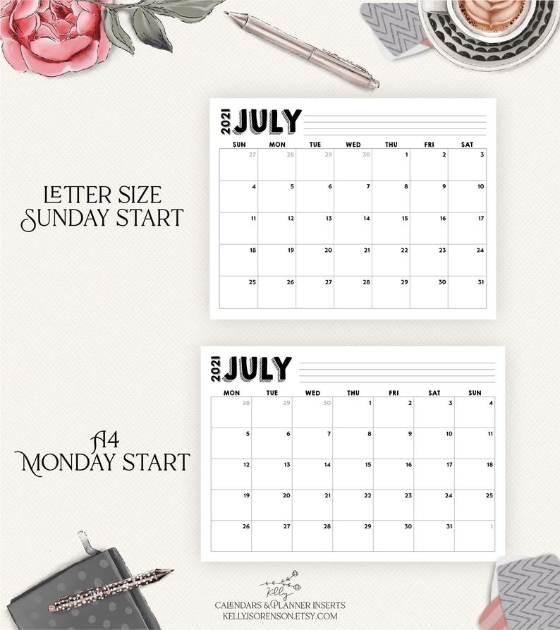 Editable Printable 2020 2021 Calendar Letter Size And A4   Etsy
