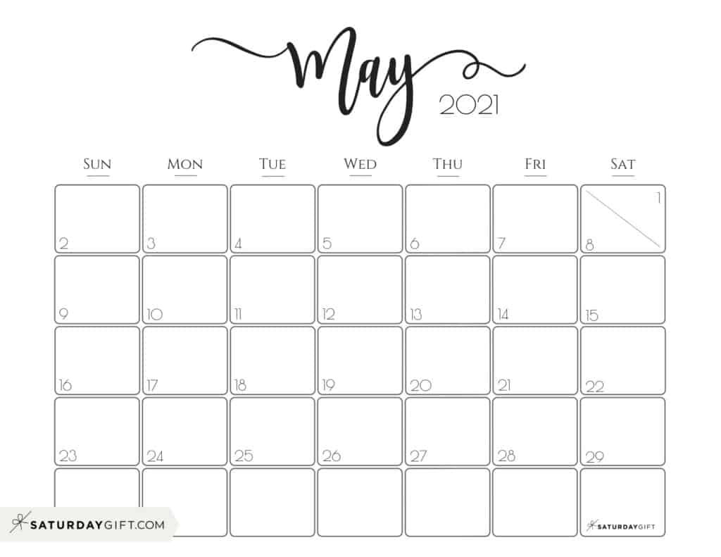 Elegant 2021 Calendarsaturdaygift - Pretty Printable Monthly Calendar