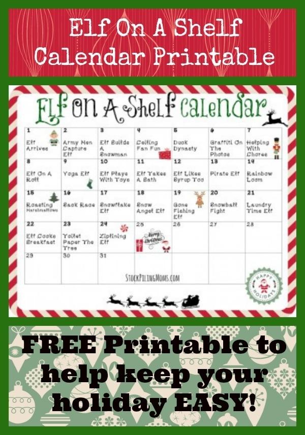 Elf On A Shelf Calendar Printable