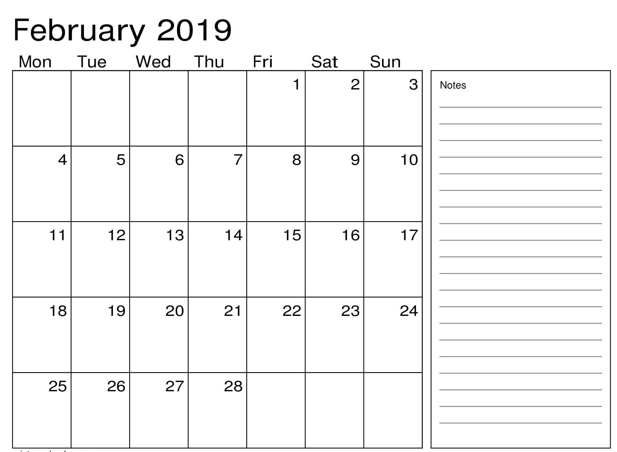 February 2019 Calendar Excel | Calendar Printables, Excel Calendar, Free Printable Calendar