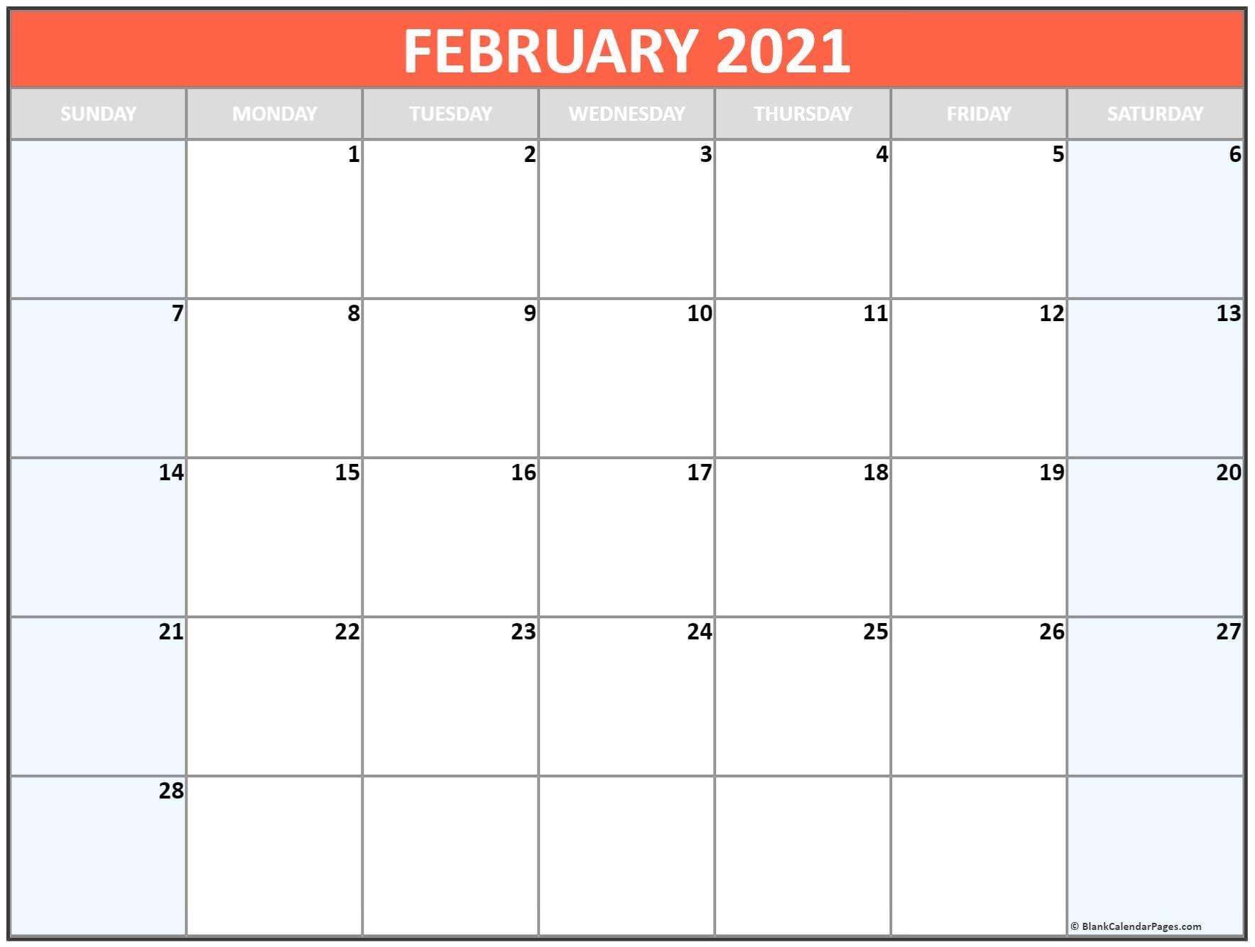 February 2021 Blank Calendar Collection.