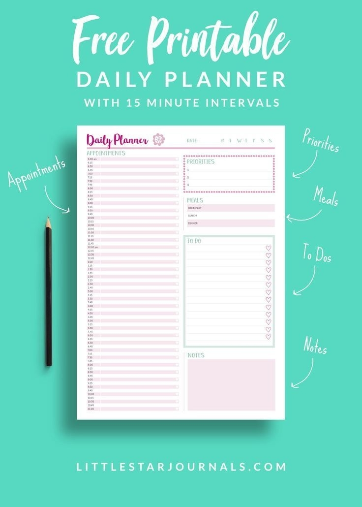 Free 15 Minute Daily Planner Printable | Daily Planner Printable, Printable Planner, Printable