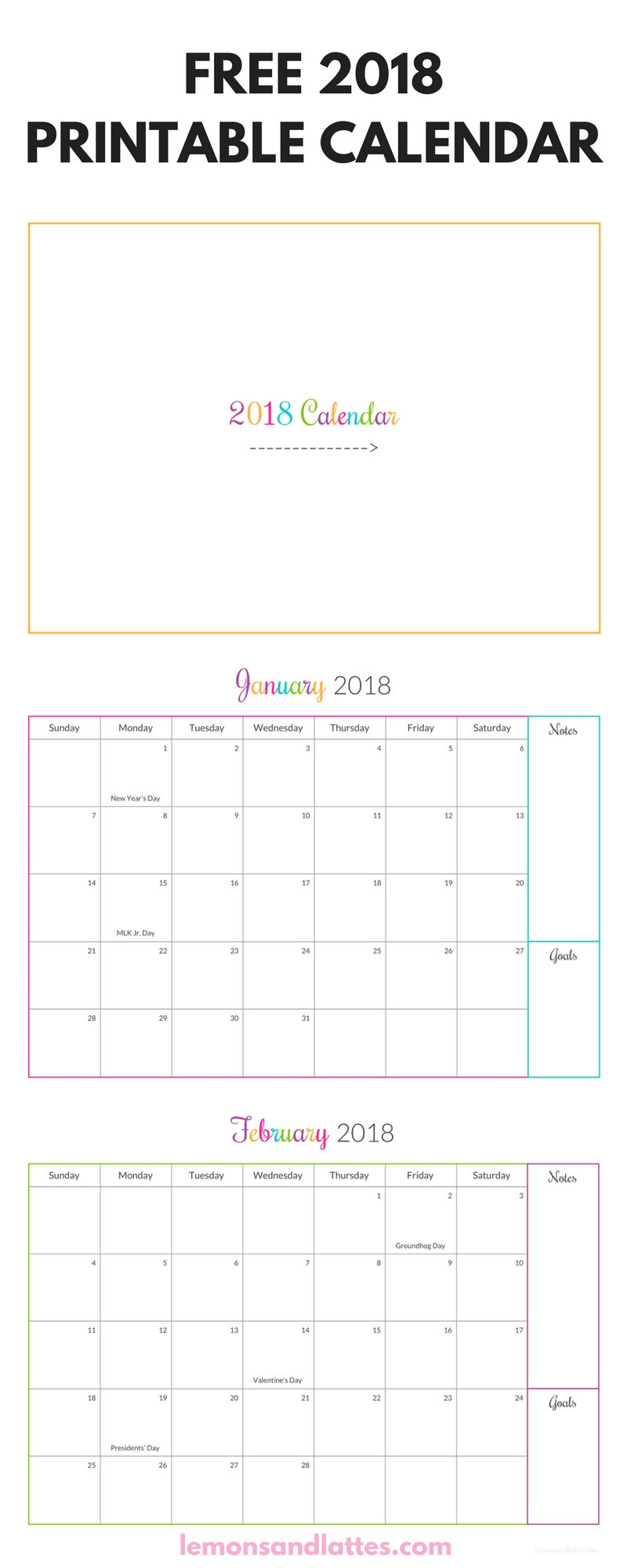 Free 2018 Printable Calendar With Holidays, Notes, And Goals + Cover Sheet | 2018 Printable