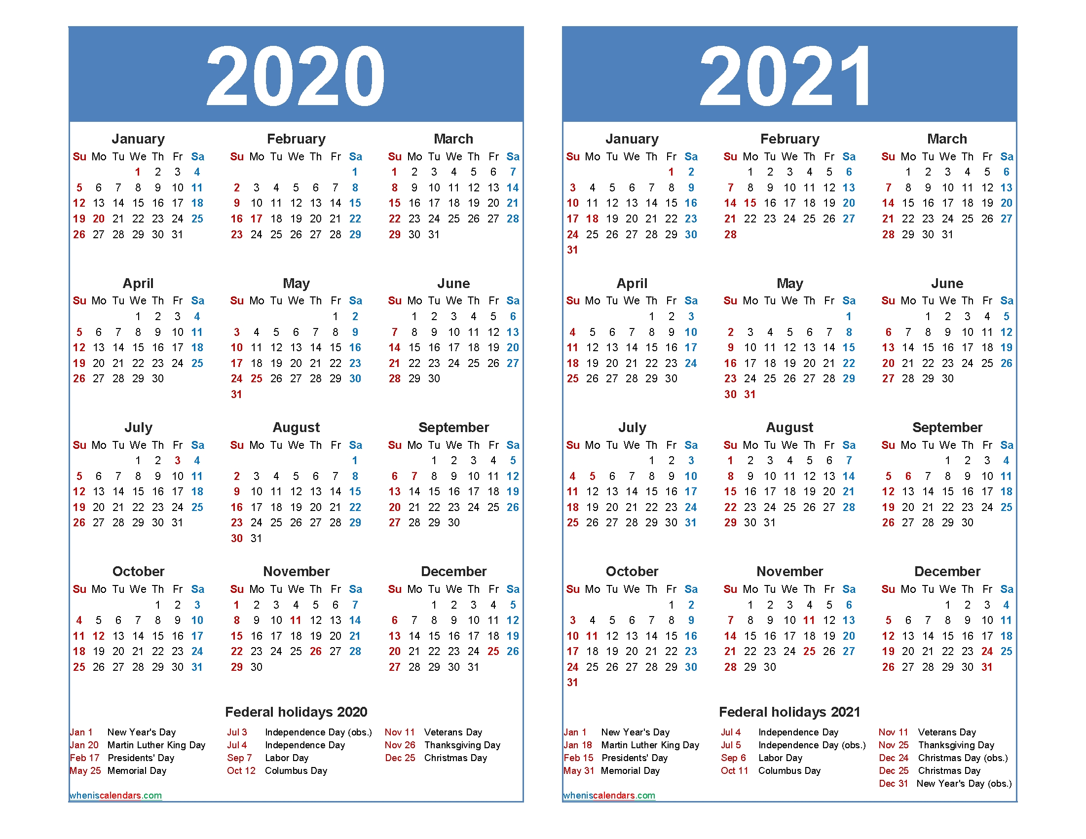 Free 2020 2021 Calendar Printable With Holidays - Free Printable 2020 Monthly Calendar With Holidays