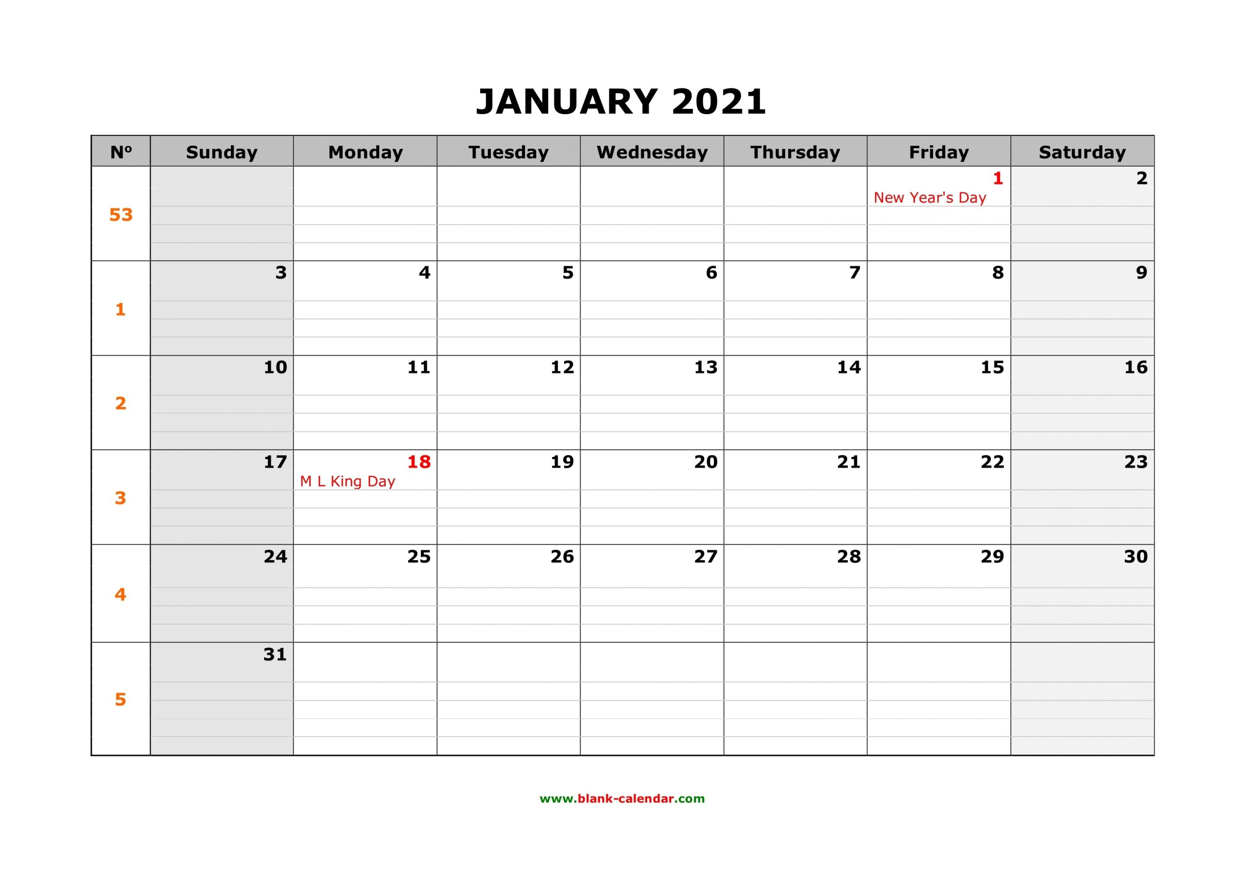 Free Download Printable Calendar 2021, Large Box Grid, Space For Notes