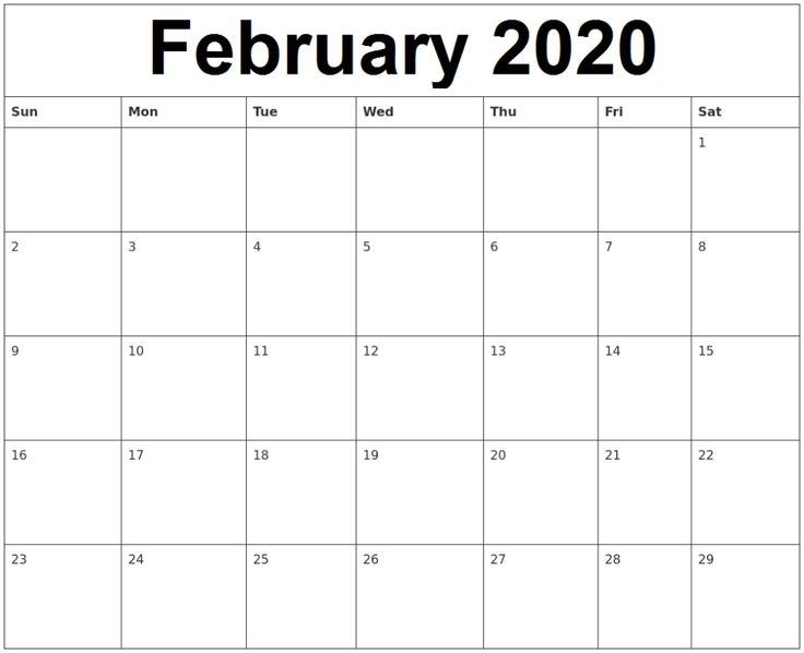 Free Editable February 2020 Calendar In Pdf, Landscape, And Portrait Format | Printable Calend