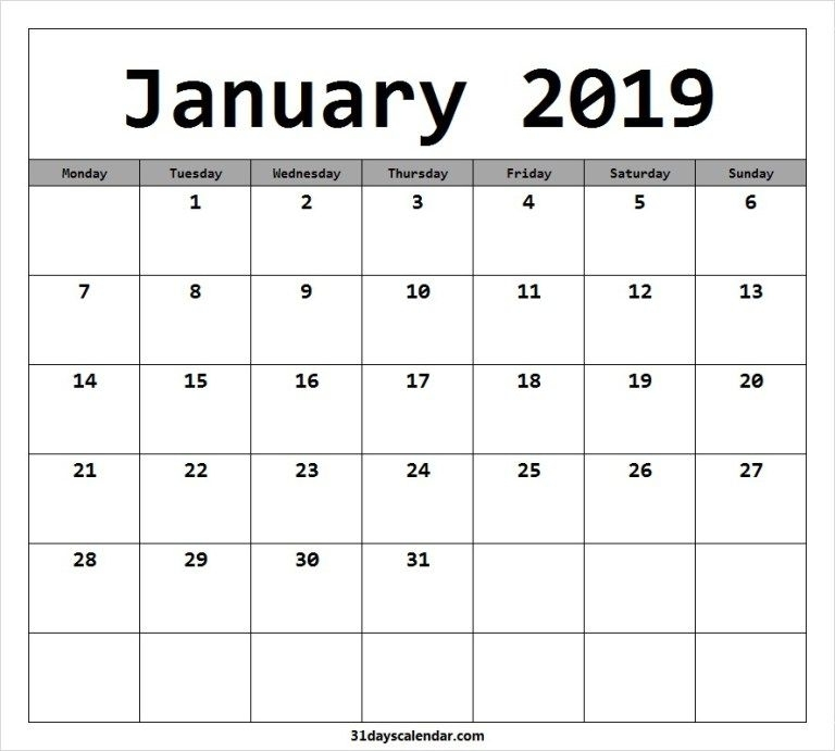 Free January 2019 Monday Start Image & Picture For Desktop | January Calendar