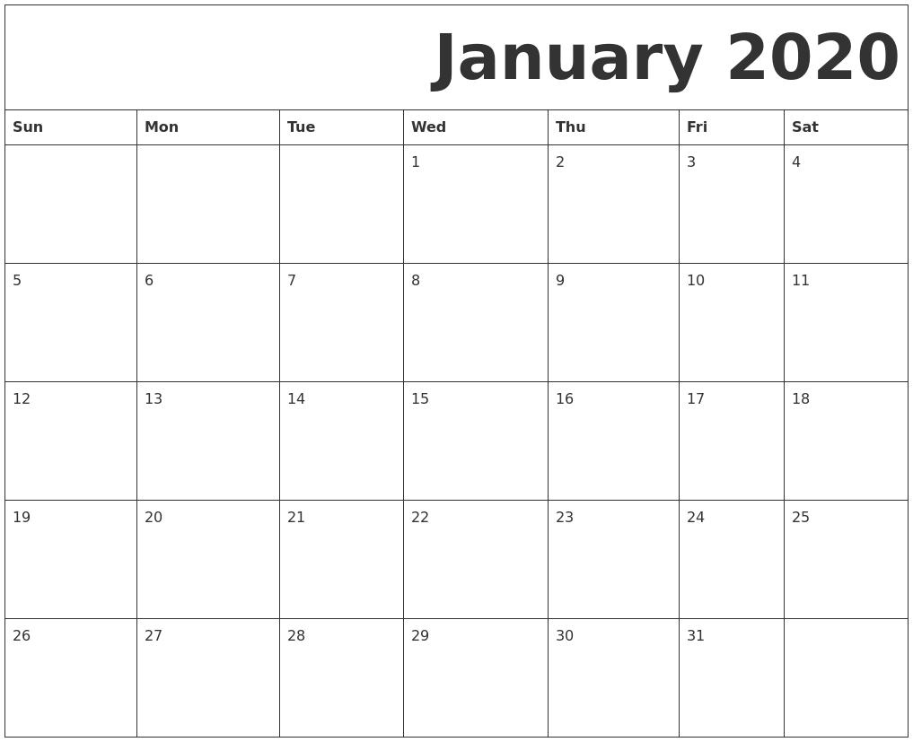 Free January 2020 Printable Calendar Blank Templates - Calendar Letters